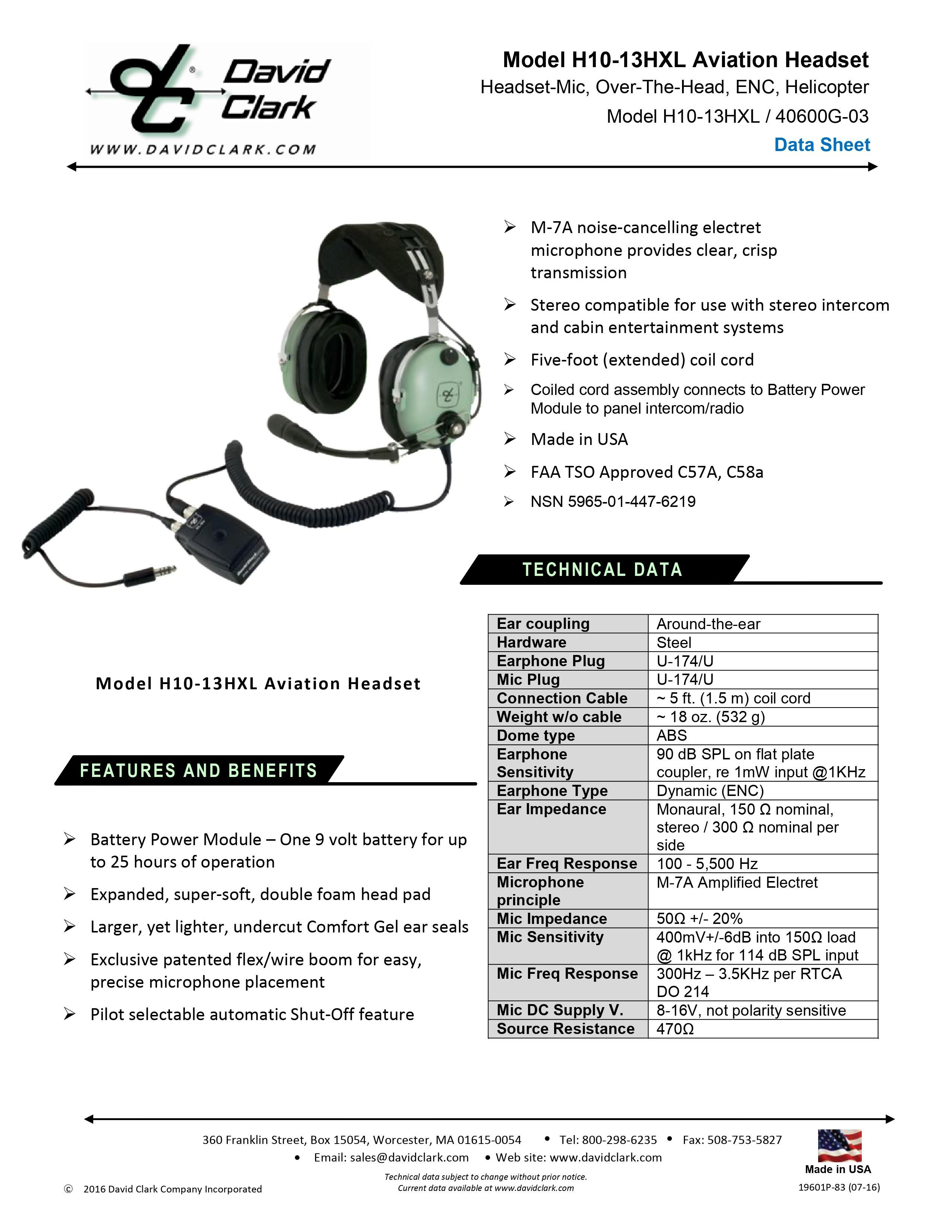 H10-13HXL TECHNICAL SPECS BUCKERBOOK