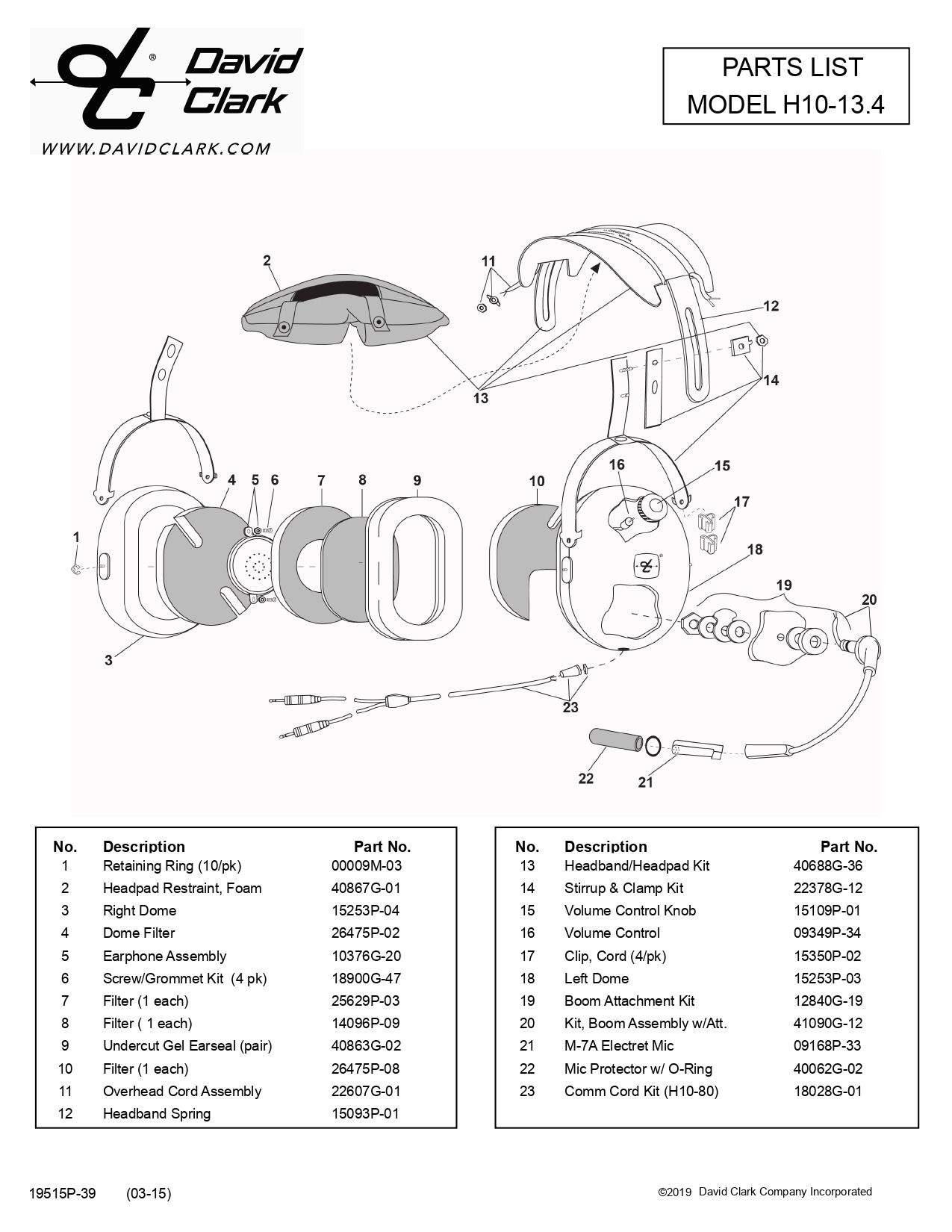 H10-13.4 PARTS LIST BUCKERBOOK