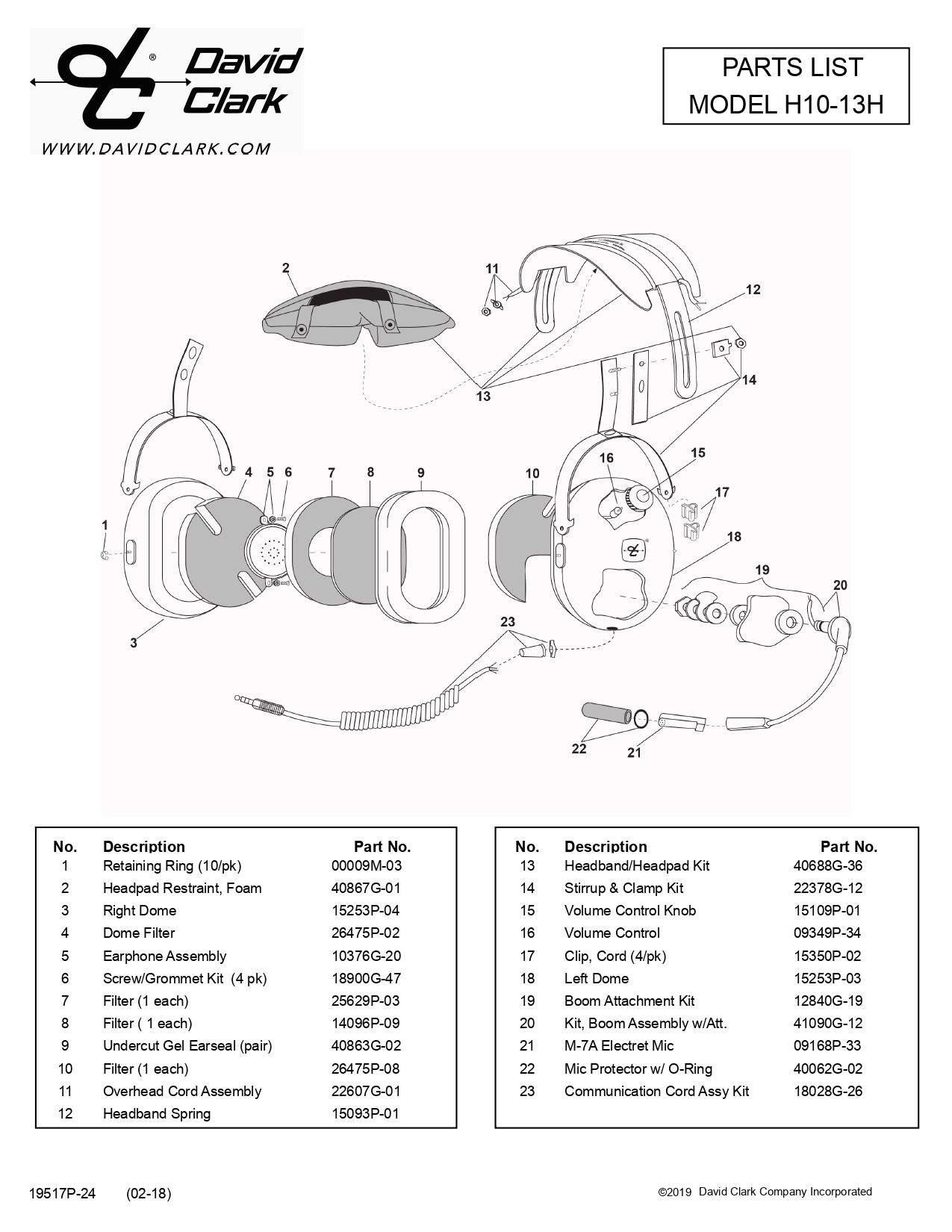 PARTS LIST H10-13H BUCKERBOOK