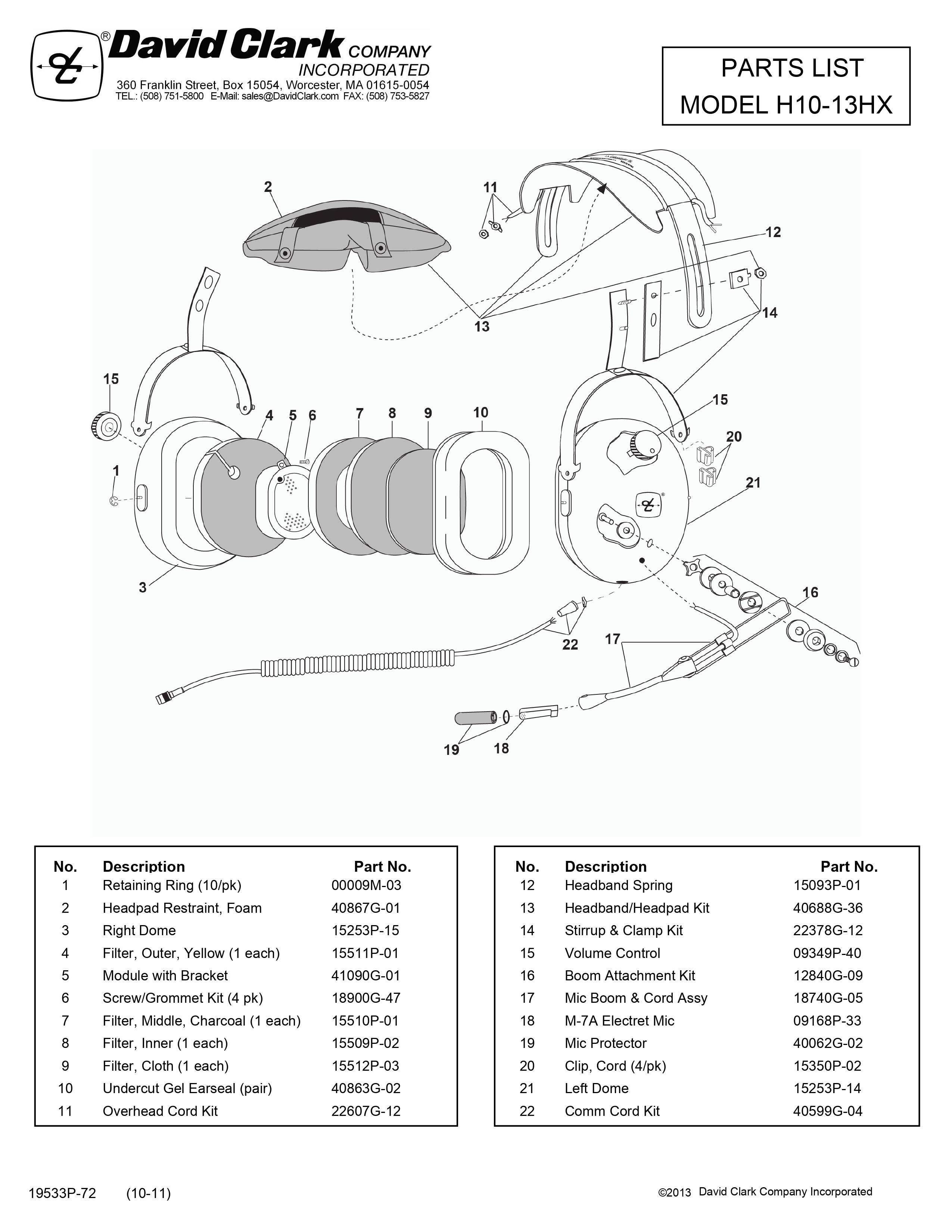 PARTS LIST H10-13HXL BUCKERBOOK