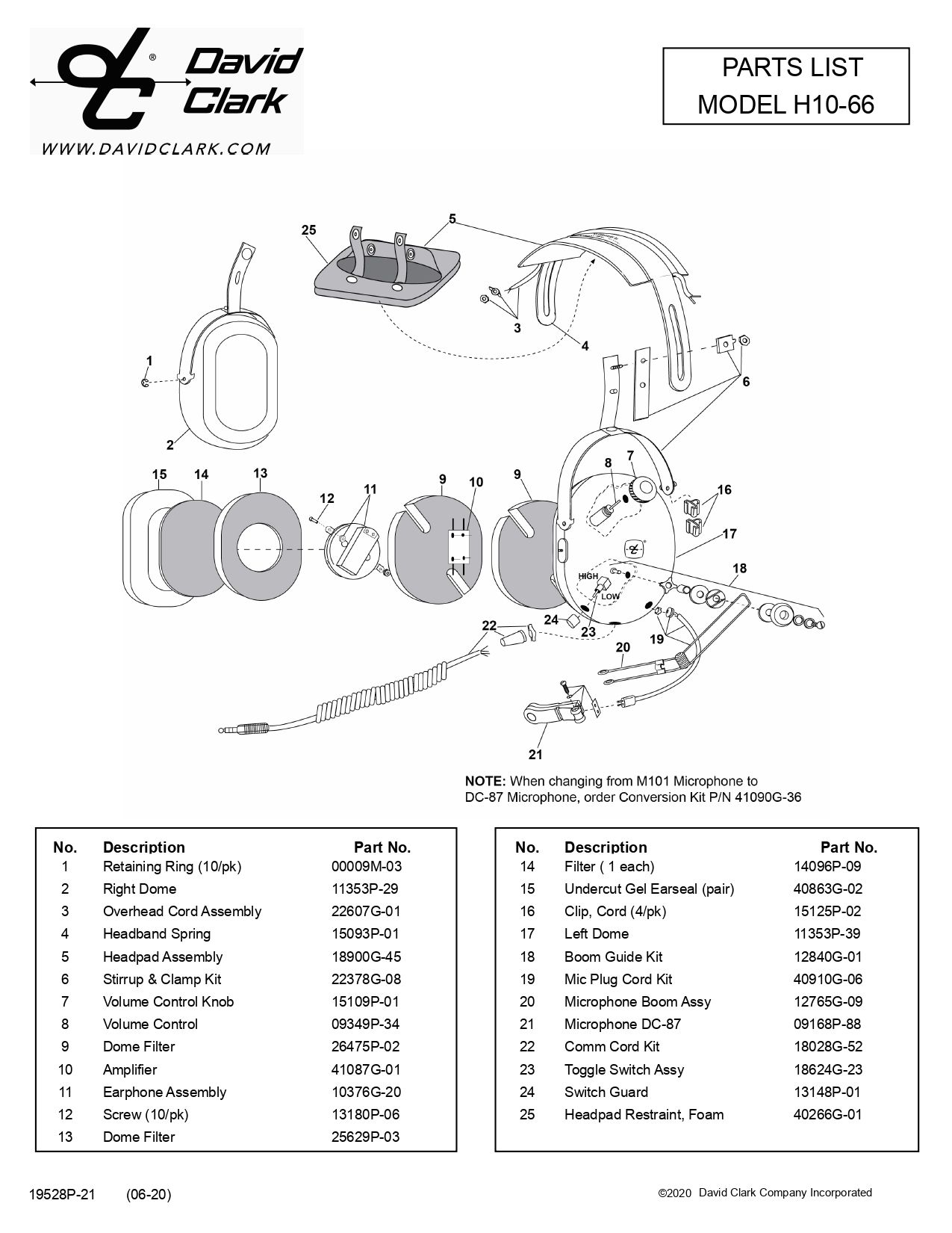 H10-66 PARTS LIST BUCKERBOOK
